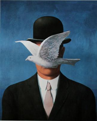 L'uomo con la bombetta di Renè Magritte
