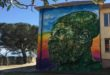 Riace, un murales dedicato a Mimmo Lucano